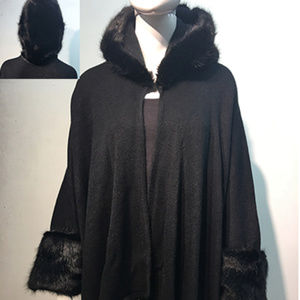 Faux Fur Poncho Hooded Cape Black